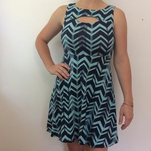 Chevron Cut-out Sleeveless Skater Dress